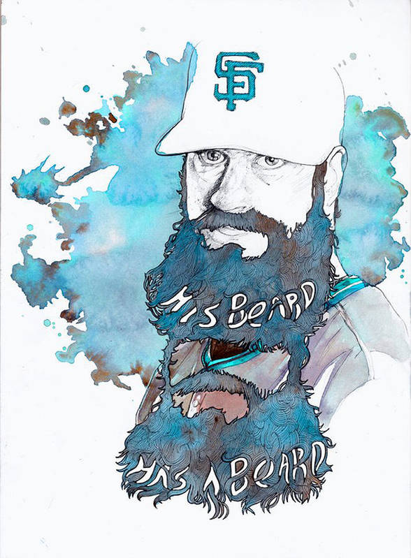Brian Poster featuring the painting The Beard by Michael Pattison