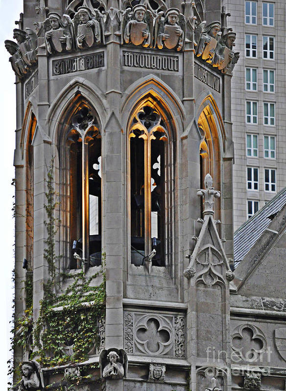 The Church Tower Poster featuring the photograph The Church Tower by Mary Machare