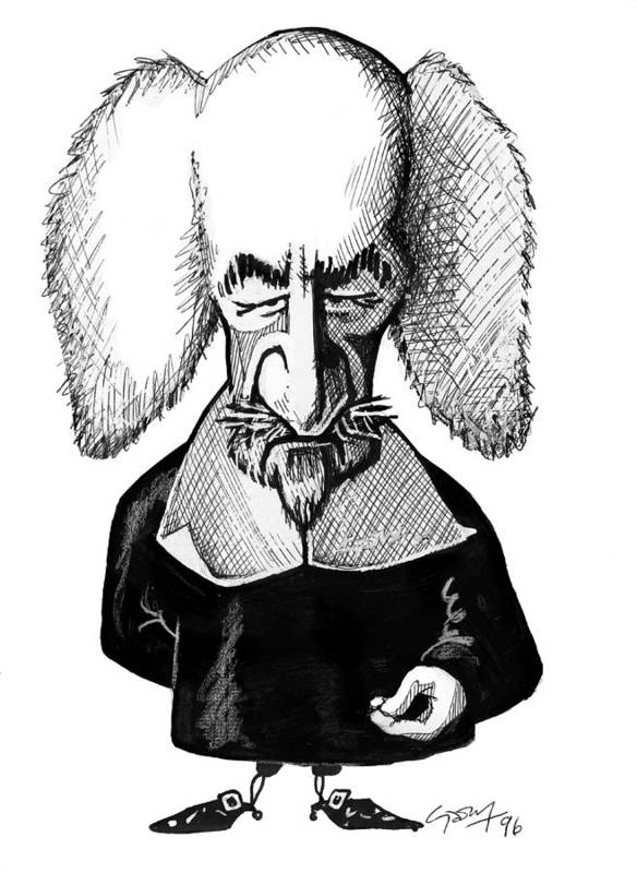 Thomas Hobbes Poster featuring the photograph Thomas Hobbes, Caricature by Gary Brown