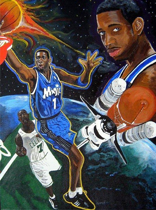Orlando Magic Poster featuring the painting Tracy Mcgrady by Jeff Gomez