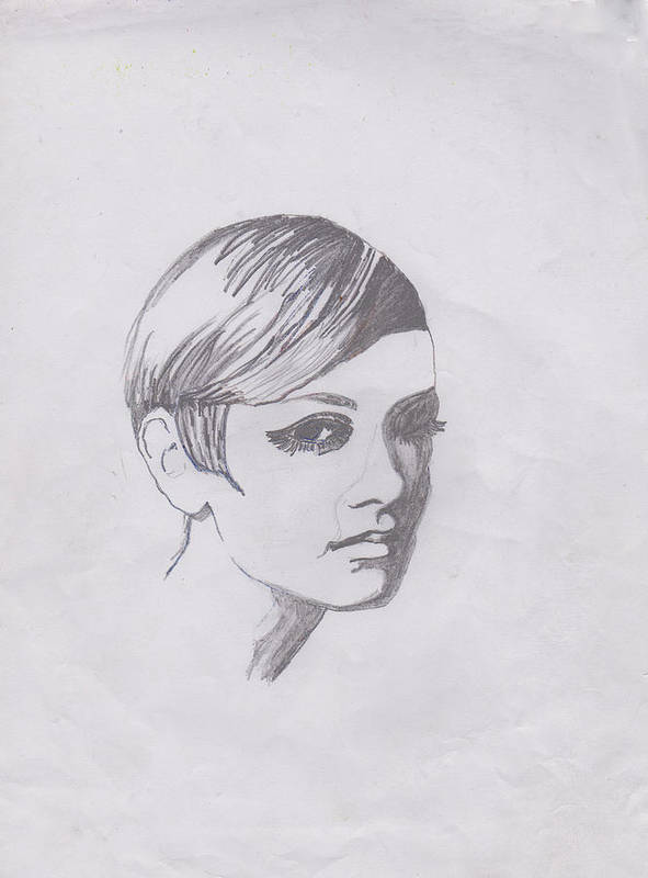 Drawing Poster featuring the photograph Twiggy by Marie Hough