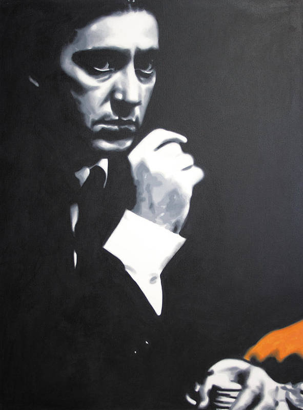 The Godfather Poster featuring the painting - The Godfather - by Luis Ludzska