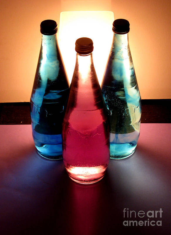 Light Poster featuring the pastel Electric Light Through Bottles by Caroline Peacock