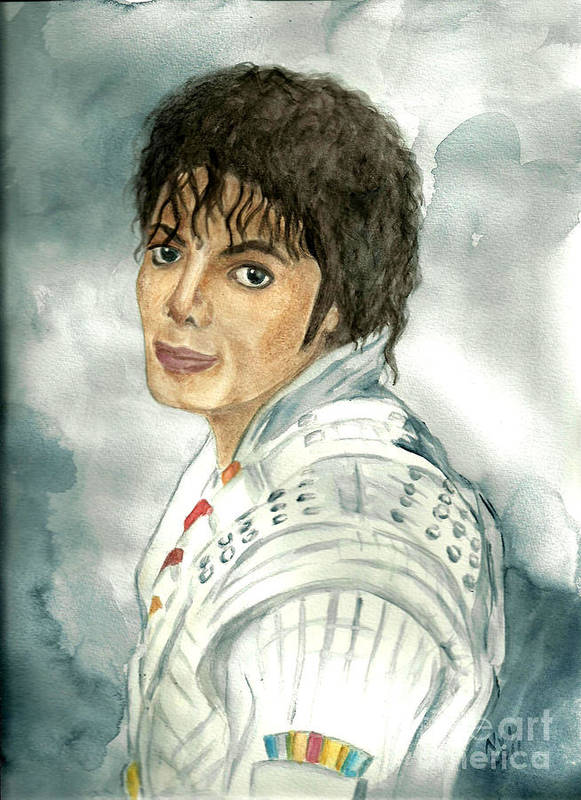 Michael Jackson Poster featuring the painting Michael Jackson - Captain Eo by Nicole Wang