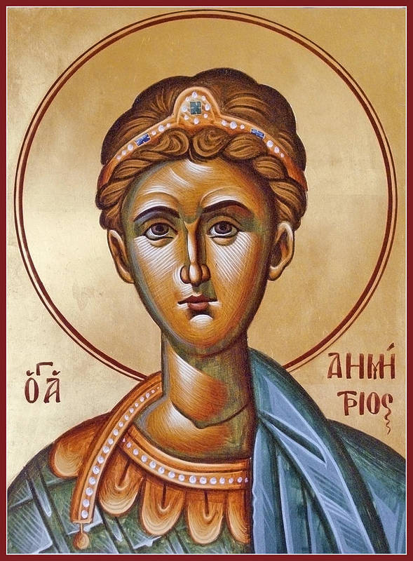 Icon Poster featuring the painting St Demetrios The Great Martyr And Myrrhstreamer by Julia Bridget Hayes