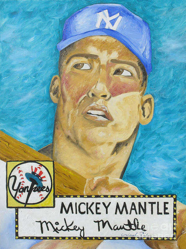 Mickey Mantle Poster featuring the painting 1952 Mickey Mantle Rookie Card Original Painting by Joseph Palotas