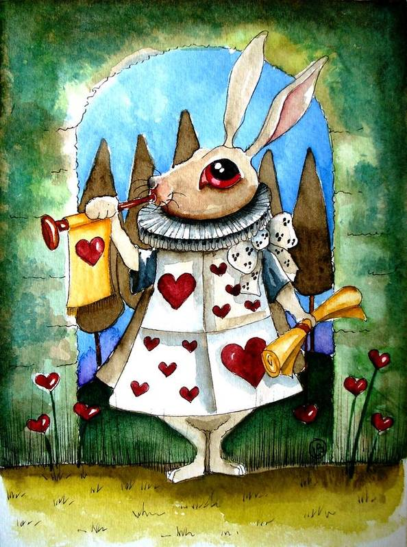 Alice Wonderland Lucia Stewart White Rabbit Tree Heart Trumpet Cute Green Poster featuring the painting The White Rabbit by Lucia Stewart