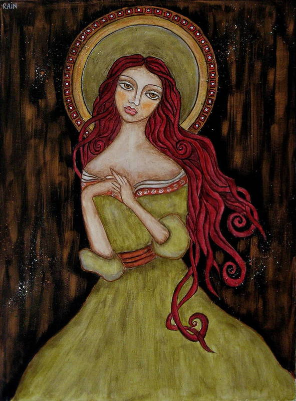 Folk Art Paintings Paintings Poster featuring the painting Angela by Rain Ririn