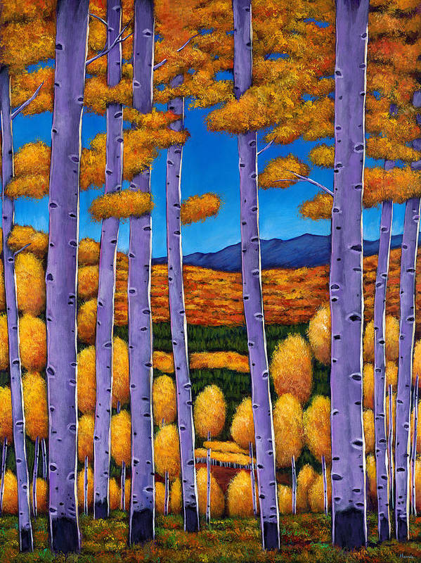 Autumn Aspen Poster featuring the painting Aspen Country II by Johnathan Harris