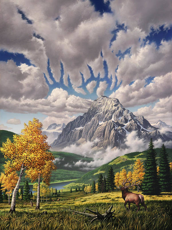 Elk Poster featuring the painting Autumn Echos by Jerry LoFaro