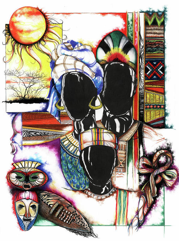 Sun Poster featuring the drawing Back To Basic by Anthony Burks Sr