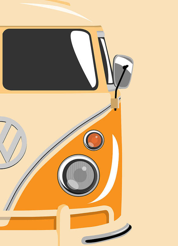 Vw Camper Van Poster featuring the digital art Camper Orange 2 by Michael Tompsett
