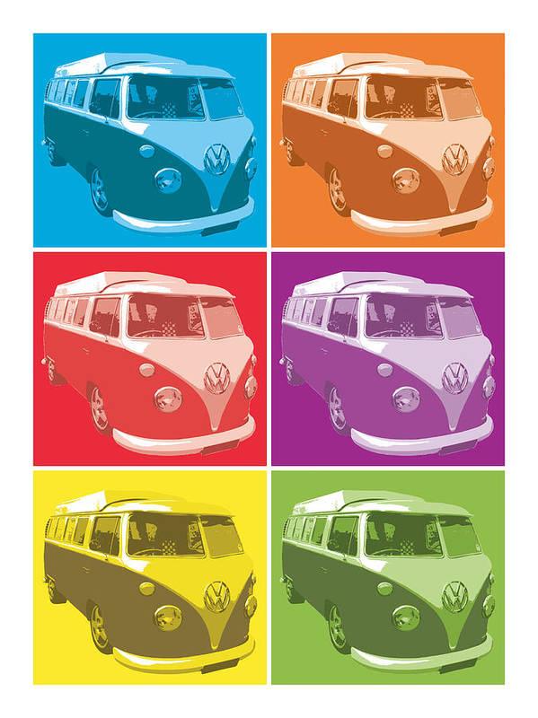 Vw Camper Van Poster featuring the digital art Camper Van Pop Art by Michael Tompsett