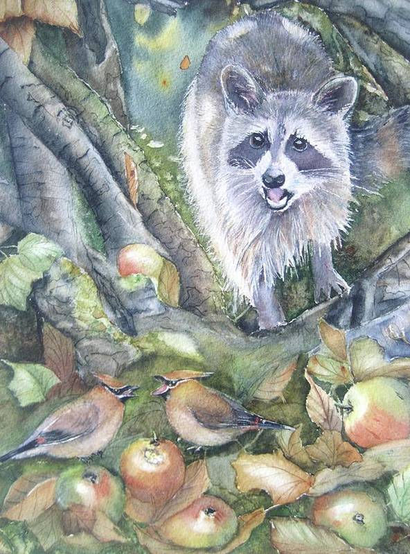 Wildlife Art Poster featuring the painting Cut It Out by Patricia Pushaw