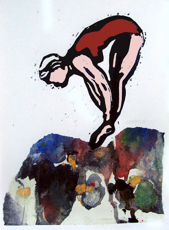Lino Poster featuring the mixed media Dive - Off Golden Cliffs by Adam Kissel