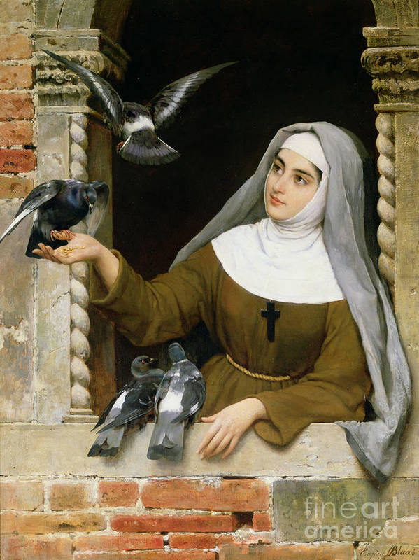 Feeding The Pigeons Poster featuring the painting Feeding The Pigeons by Eugen von Blaas