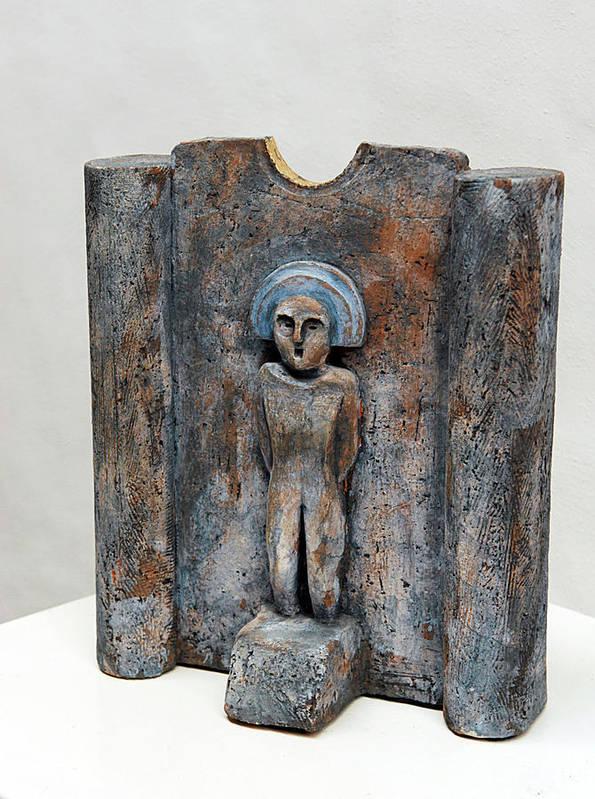 Matrons Poster featuring the sculpture Female Figurine - Goddess Worship - Matrone - Matrones -matronen - Matrona - Diosa-nettersheim Eifel by Urft Valley Art