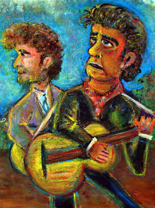 Johnny Cash And Bob Dylan In A Piece Dubbed Girl From North Country Fair Nashville Skyline Country Music Rock Music 60s Hippie Poster featuring the painting Girl From North Country Johnny Cash And Bob Dylab by Jason Gluskin