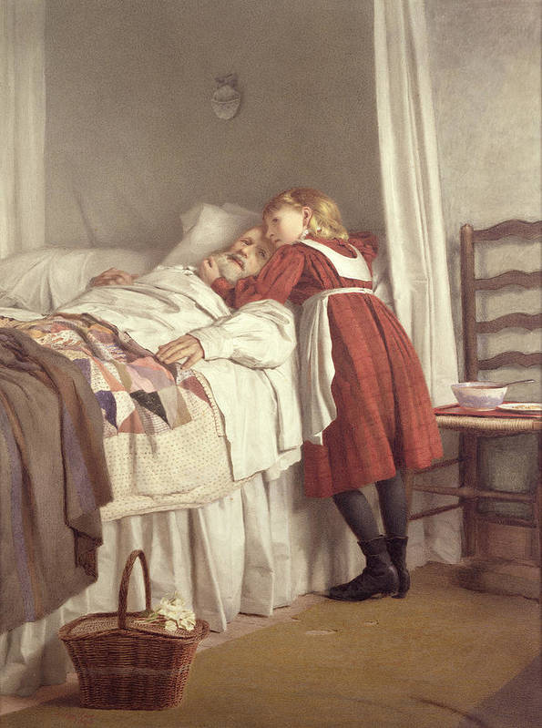 Grandfather's Little Nurse Poster featuring the painting Grandfathers Little Nurse by James Hayllar