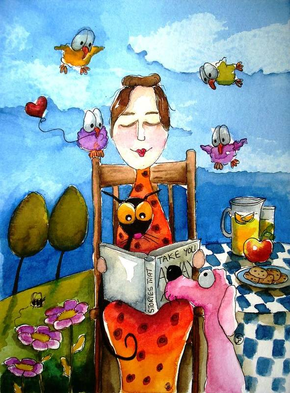 Lucia Stewart Poster featuring the painting Grandma's Story Time by Lucia Stewart