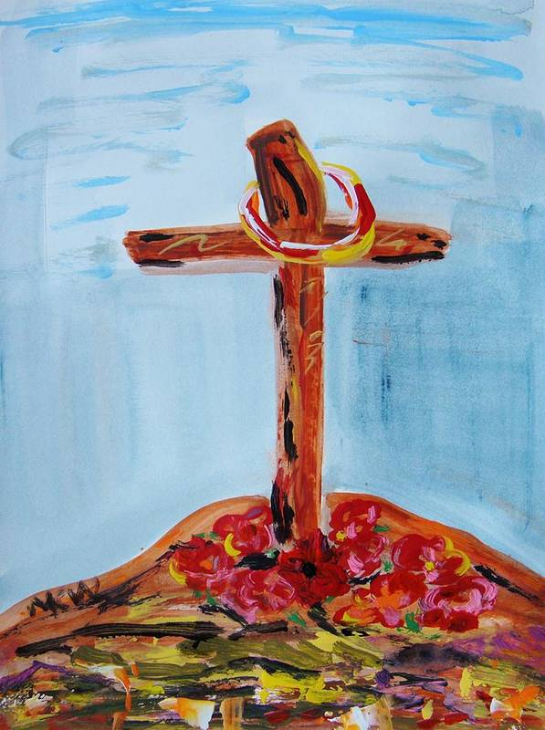 Jesus Poster featuring the painting Hallowed Garden by Mary Carol Williams