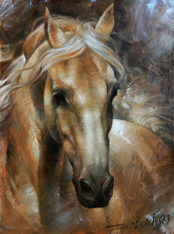 Horse Poster featuring the painting Head Horse 2 by Arthur Braginsky