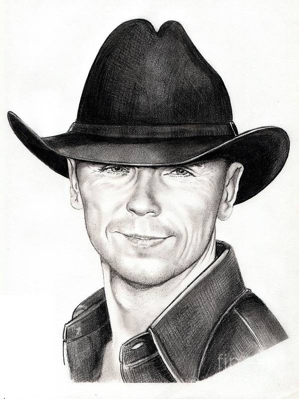 Portrait Poster featuring the drawing Kenny Chesney by Murphy Elliott