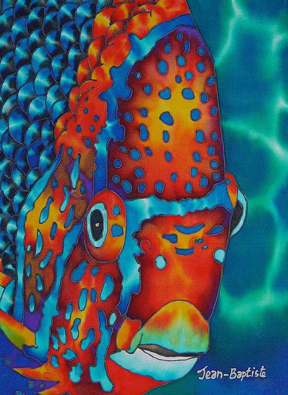 Angelfish Painting Poster featuring the painting King Angelfish by Daniel Jean-Baptiste