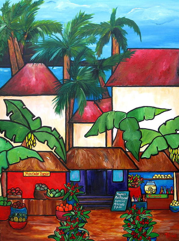 Puerto Rico Poster featuring the painting Mercado En Puerto Rico by Patti Schermerhorn