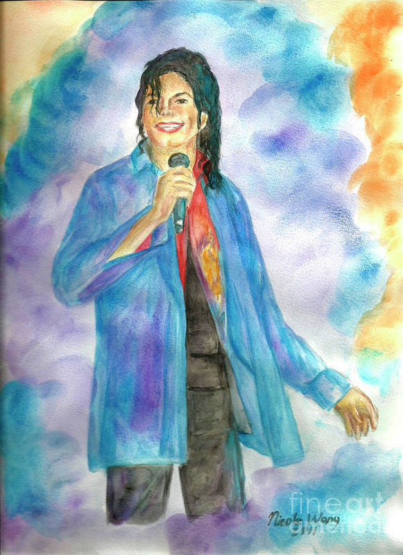 Michael Jackson Poster featuring the painting Michael Jackson - The Final Curtain Call by Nicole Wang