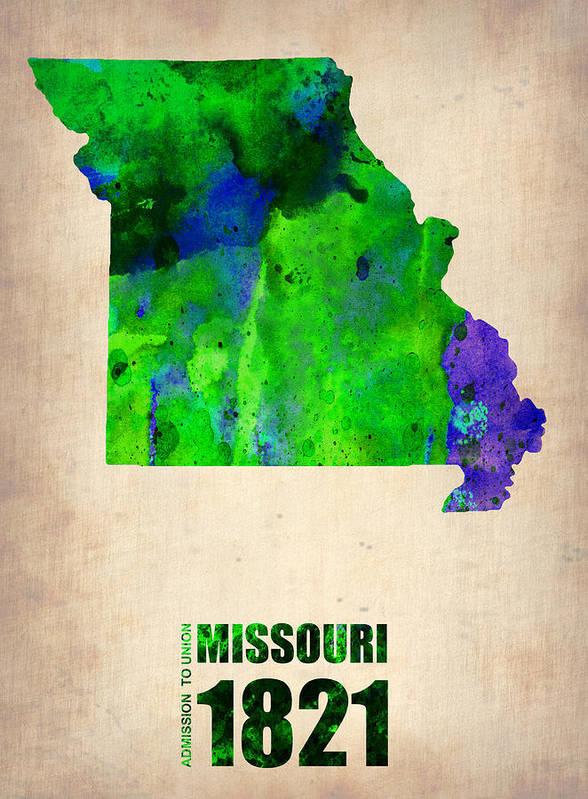 Missouri Poster featuring the digital art Missouri Watercolor Map by Naxart Studio