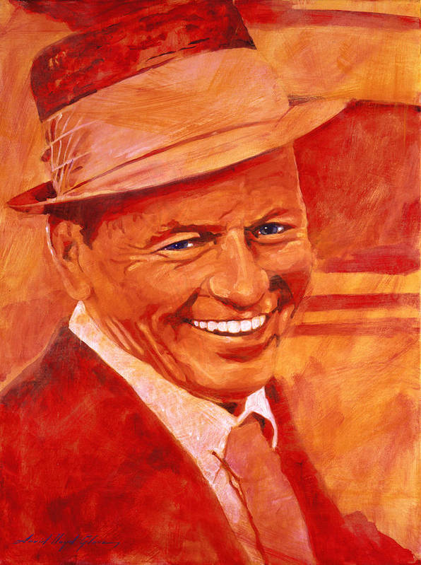Frank Sinatra Poster featuring the painting Old Blue Eyes by David Lloyd Glover