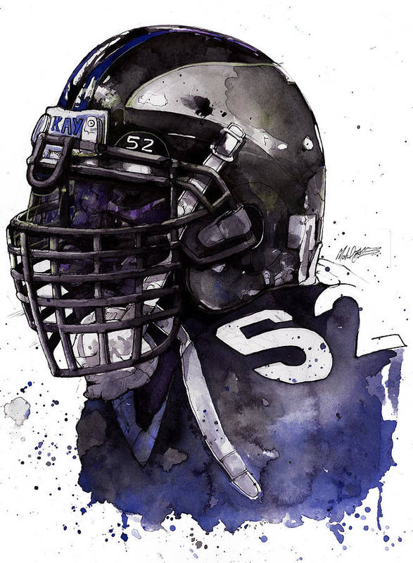 Ray Poster featuring the painting Ray Lewis - Last Game by Michael Pattison