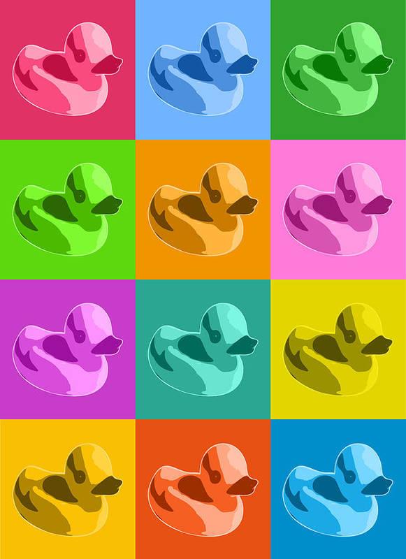 Rubber Ducks Poster featuring the digital art Rubber Ducks by Michael Tompsett
