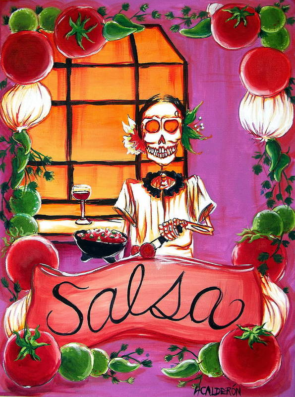 Day Of The Dead Poster featuring the painting Salsa by Heather Calderon