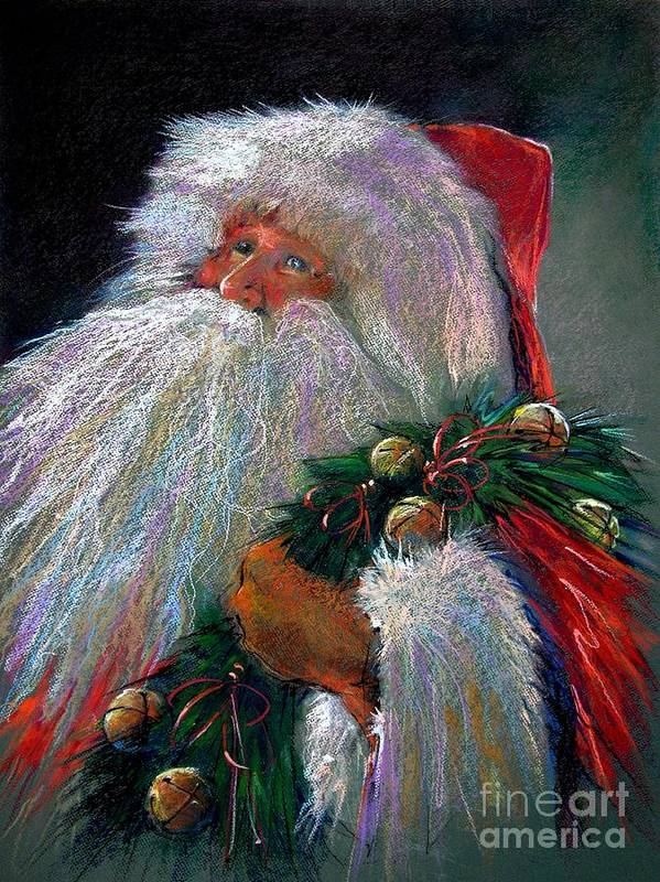 Santa Claus Poster featuring the painting Santa Claus With Sleigh Bells And Wreath by Shelley Schoenherr