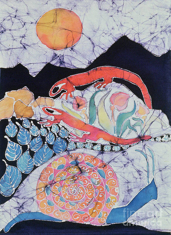 Snail Poster featuring the tapestry - textile Snail With Red Efts by Carol Law Conklin