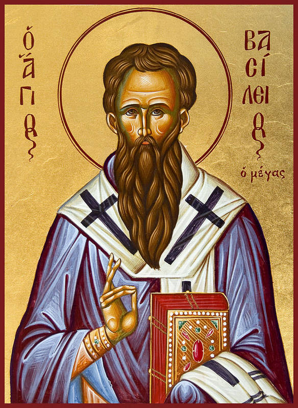 Icon Poster featuring the painting St Basil The Great by Julia Bridget Hayes