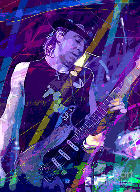 Stevie Ray Vaughan Poster featuring the painting Stevie Ray Vaughan Sustain by David Lloyd Glover