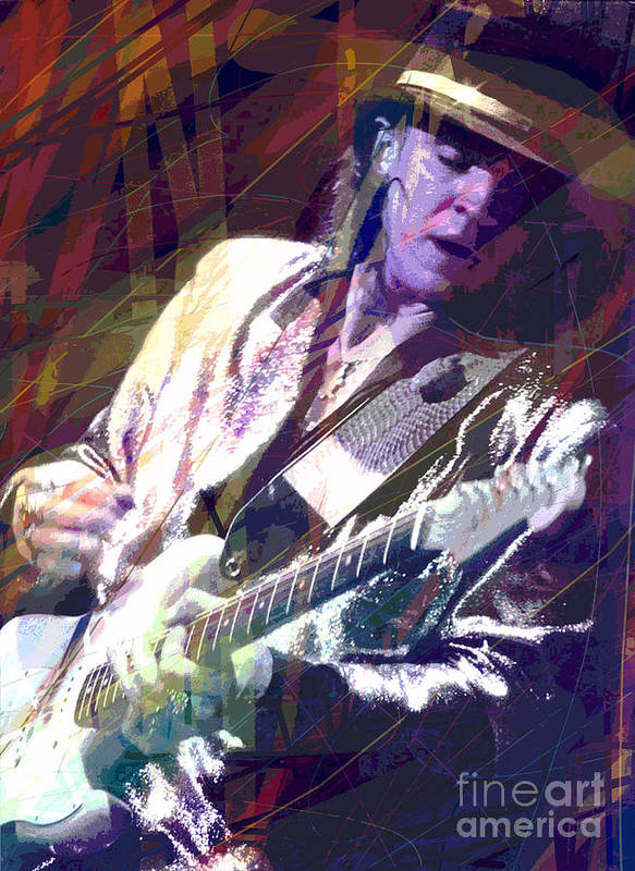 Stevie Ray Vaughan Poster featuring the painting Stevie Ray Vaughan Texas Blues by David Lloyd Glover
