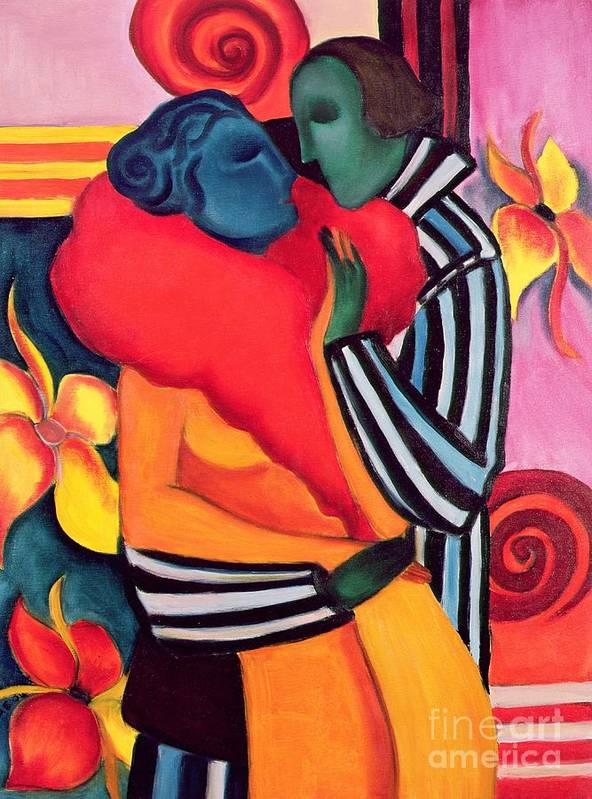 The Lovers Poster featuring the painting The Lovers by Sabina Nedelcheva Williams