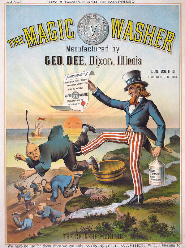 1880s Poster featuring the photograph The Magic Washer. The Chinese Must Go by Everett