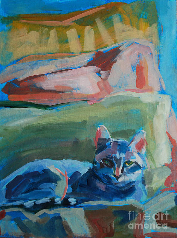 Gray Tabby Poster featuring the painting The Princess And The Pea - Sketch by Kimberly Santini