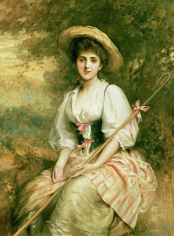 Mrs. Stuart M. Samuel As Phyllida Poster featuring the painting The Shepherdess by Sir Samuel Luke Fildes