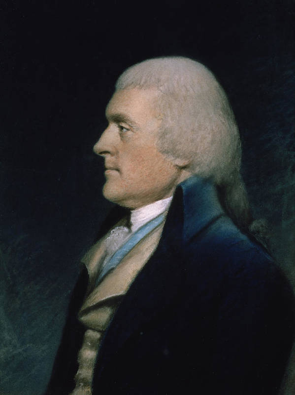 Thomas Poster featuring the pastel Thomas Jefferson by James Sharples