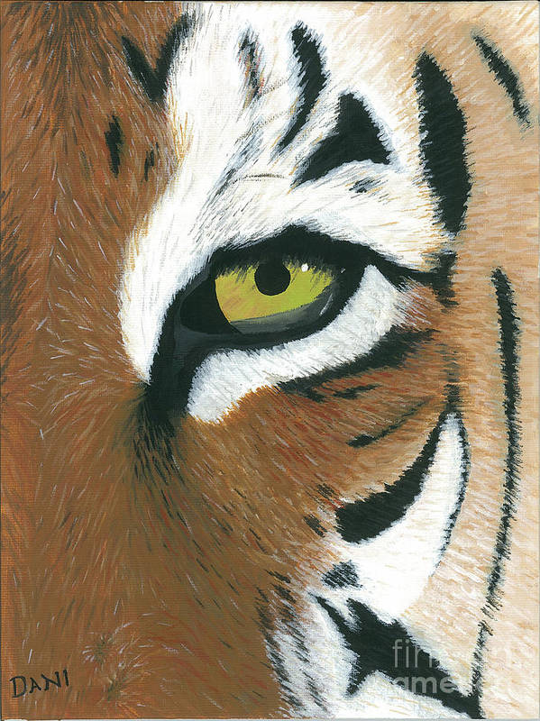 Tiger Poster featuring the painting Tiger by Dani Moore
