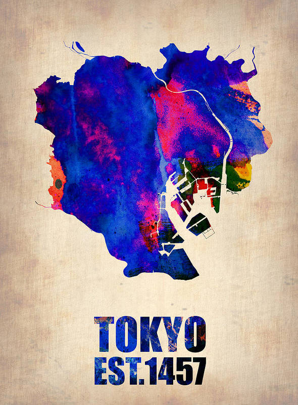 Tokyo Poster featuring the painting Tokyo Watercolor Map 2 by Naxart Studio