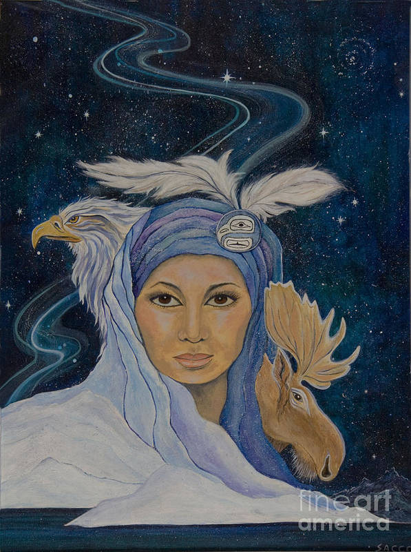 American Indian Art Poster featuring the painting We Are One by Jeanette Sacco-Belli