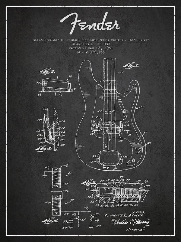 Fender Poster featuring the drawing Fender Guitar Patent Drawing From 1961 by Aged Pixel