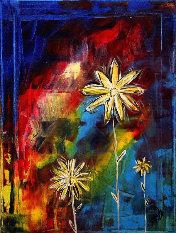 Abstract Poster featuring the painting Abstract Art Original Daisy Flower Painting Visual Feast By Madart by Megan Duncanson
